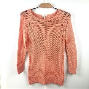 Joie Coral Orange Loose Knit Cotton Sweater Size S